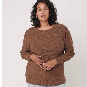 LOFT shimmer pointelle sweater in brown multi